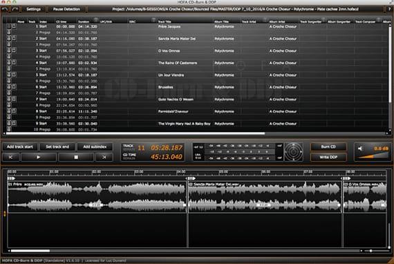 Logiciel hofa CD / DDP Maker. Préparation du CD master de l'ensemble vocal I Cieli immensi